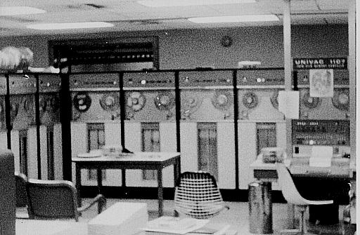 Univac 1107 console with tape drives behind