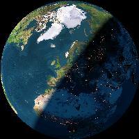 Vy av jorden just nu. Klicka för att anpassa http://www.fourmilab.ch/