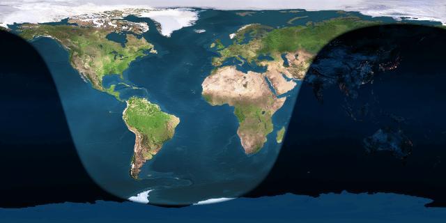 Partie de la terre actuellement éclairée