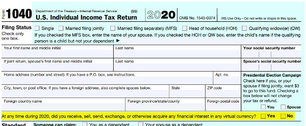 U.S. IRS Form 1040, 2020